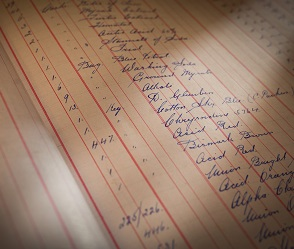a picture of an old handwritten stock ledger